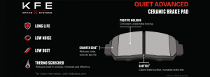 KFE QuietAdvanced Ceramic Brake Pad Features