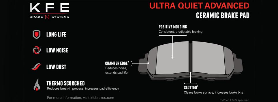 KFE Ultra Quiet Advanced Brake Pad Features