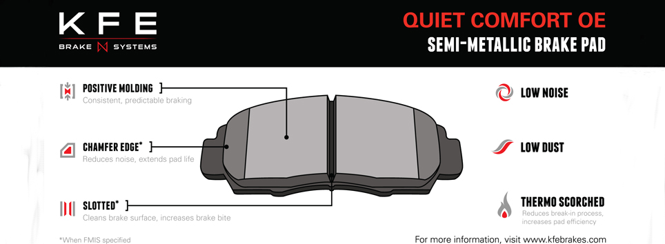 KFE Quiet Comfort OE Brake Pad Features